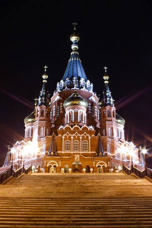 night St. Michael cathedral in Izhevsk, Udmurtia, Russia