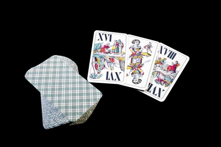 vintage playing cards, isolated on black backgraund Stock Photo - 10981146