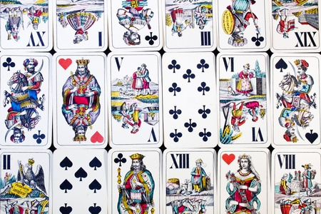 hungarian: Closeup of some hungarian playing cards. Also called Doppeldeutsche, William Tell or Four Seasons deck.