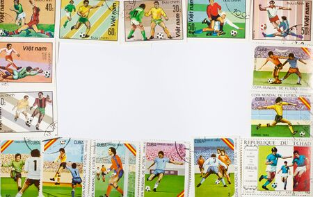 background of the stamps football related to the empty space under the text Stock Photo - 11492337