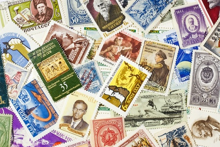 background of the old Soviet stamps on various subjects Editorial