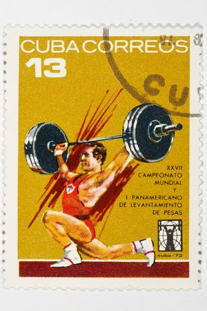 postage stamp dedicated to the championship of the bar Cuba 1973 Stock Photo