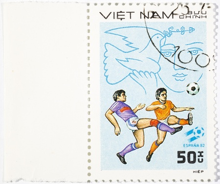 VIETNAM - CIRCA 1980s: A stamp printed in the Vietnam shows sport football game, circa 1980s Stock Photo