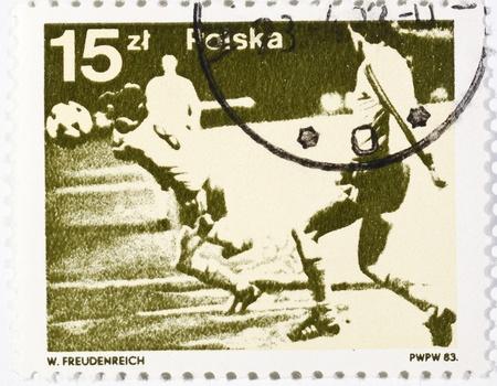 축구에 전념 폴란드어 우표 스톡 사진