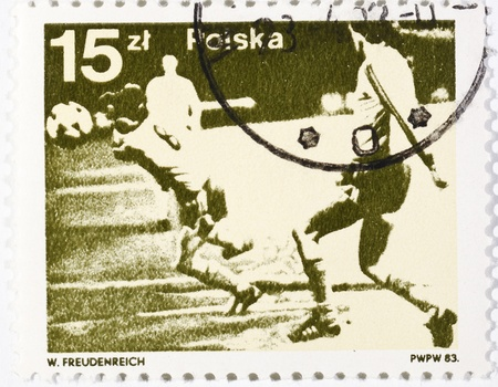 gaiters: Polish postage stamp dedicated to the football Stock Photo