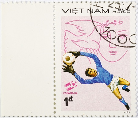 VIETNAM - CIRCA 1980s: A stamp printed in the Vietnam shows sport football game, circa 1980s Stock Photo - 11492768