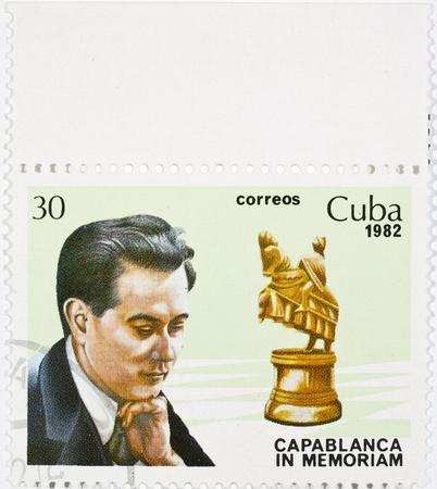 대회 체스 Capablanca의 메모리에 전념 우표 스톡 사진