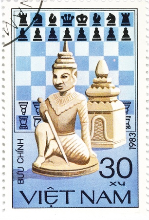 postage stamp dedicated to Chess released in Vietnam in 1983