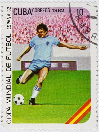 postage stamp dedicated to the football championship in Spain in 1982 Stock Photo