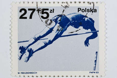postage stamp dedicated to the sports category. Poland