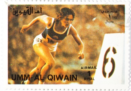 postage stamp dedicated to the sports category. umm-al-qiwain