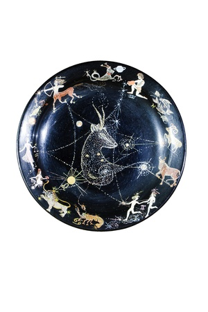 souvenir plate depicting the zodiac signs, isolated on white background photo