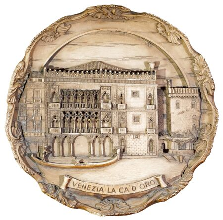 souvenir plate depicting the Venice, isolated on white background