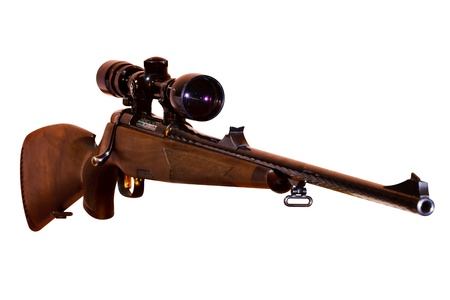 sniper rifle with telescopic sight, isolated on white background photo