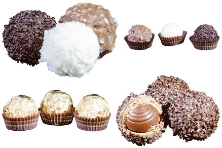 set of luxury chocolates in white, black and milk chocolate, isolated on white background photo