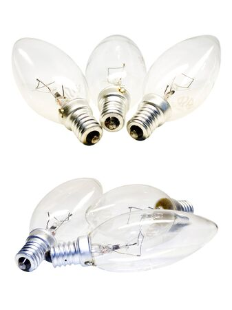 set of light bulbs isolated on a white background