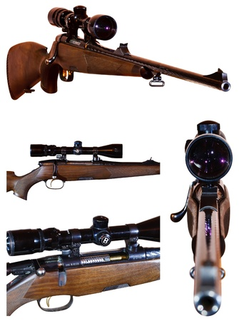 photo set of sniper rifle with telescopic sight, isolated on white background photo