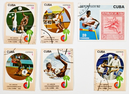 CUBA CIRCA1982: a set of sports-themed stamps on a white background circa 1982 photo