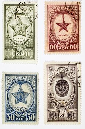 소련 - -1958 년경 : 소련에서 인쇄 우표의 집합 흰색 배경에 소련 수상을 보여줍니다