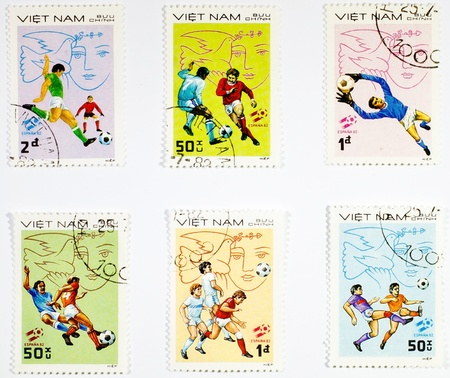 VIETNAM - CIRCA 1980s: A  set of stamps printed in the Vietnam shows sport football game, circa 1980s