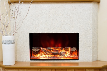 chimneys: Electric fireplace in the interior of the scenery