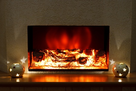 Electric fireplace in the interior of the scenery Stock Photo - 11754842