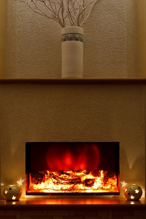 close up chimney: Electric fireplace in the interior of the scenery
