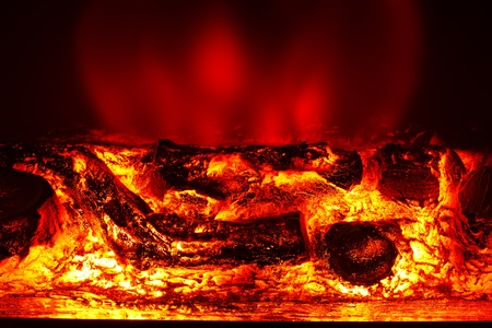 Electric Fireplace In The Interior Of The Scenery Stock Photo ...