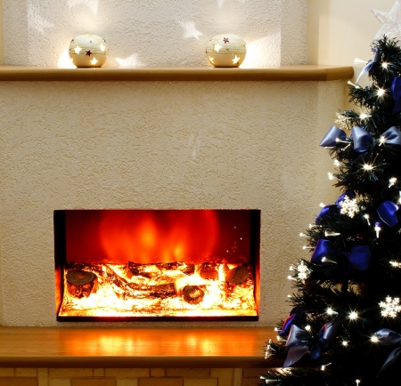 Electric fireplace in the interior of the scenery Stock Photo - 11754841