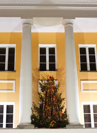 facade of an office building with Christmas tree and lighting