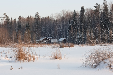 cottage on the bank of wetland pond photo