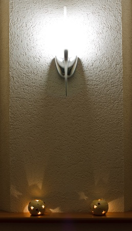sconce: lighted wall lamp (sconce) and candles in the interior