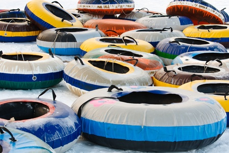tubing: background of snow tubing at the ski slope