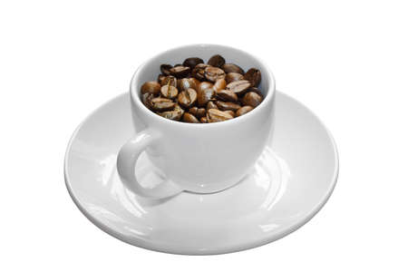 cup and coffee beans, isolated on white background Stock Photo