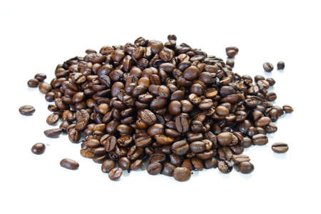 a handful of coffee beans, isolated on white background
