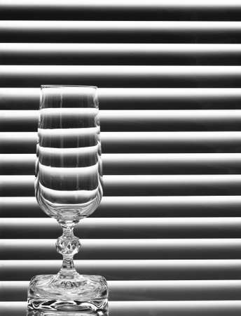 empty wineglass on the black and white background Stock Photo