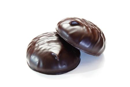 marshmallows in chocolate, studio, on white background Stock Photo