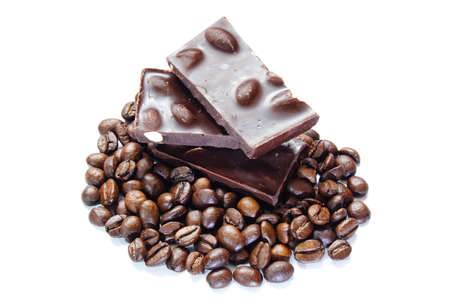 pieces of chocolate with nuts and coffee beans on white background Stock Photo