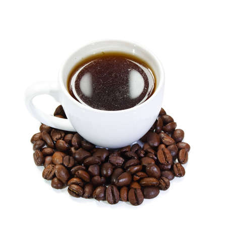 cup of coffee with coffee beans on white background photo