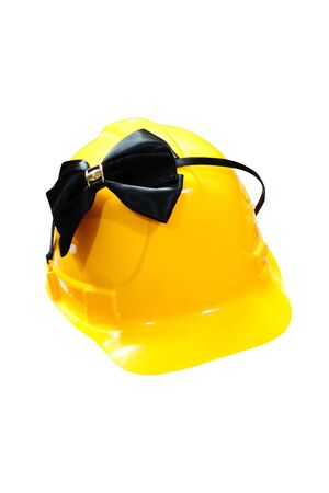 construction helmet and black Hair band with a bow on a white background