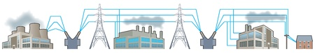 Electricity supplies_National grid Vector