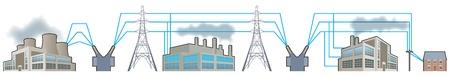 Elektriciteitsvoorziening_Nationaal net Vector Illustratie