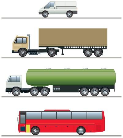 mode of transport: Elevaciones de los veh�culos comerciales Vectores
