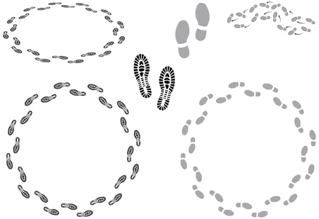 walking shoes: Footprints and going round in circles