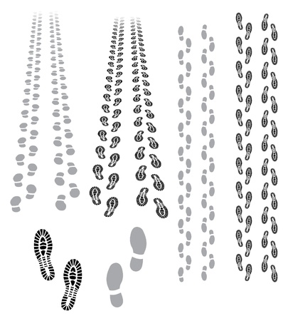 foot prints: footprints coming and going Illustration