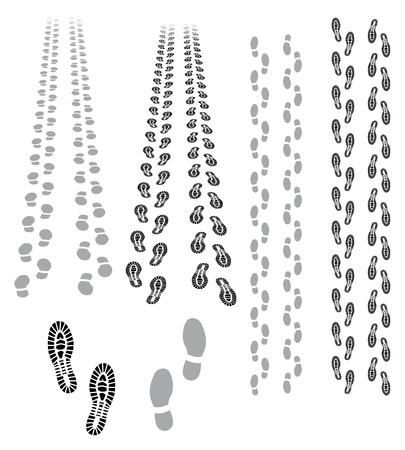 huellas de pies: huellas que iban y ven�an Vectores