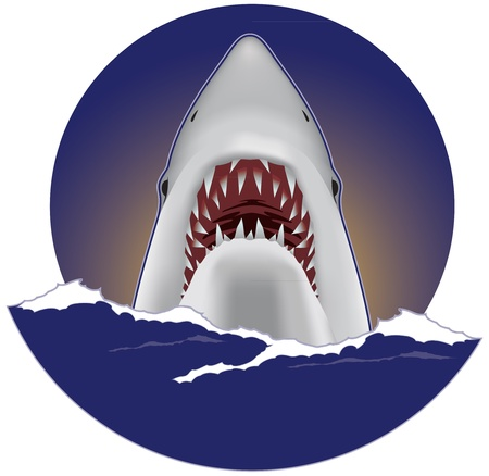 venganza: Gran tibur�n blanco Vectores