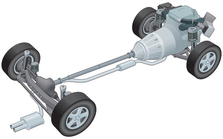 generic: Generic car rolling chassis Illustration
