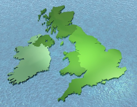 british isles: A 3D map of United Kingdom on the sea