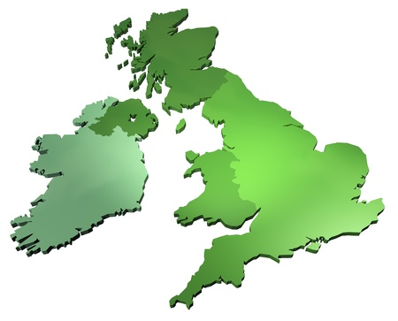 3D render of the British Isles on white background